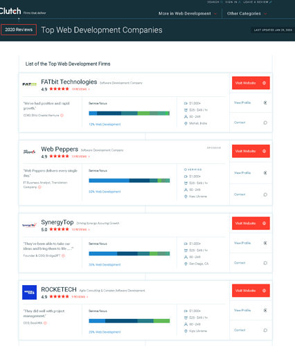 top web development companies2020