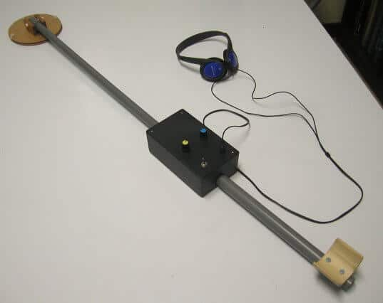 A metal detector made from a calculator and radio